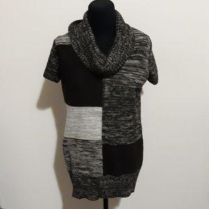 ❤AB Studio Black Tan Color Blocked Sweater Tunic L